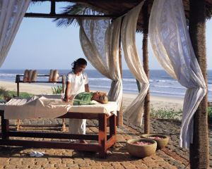 Massage table by ocean